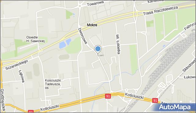 Toruń, Dworcowa, mapa Torunia