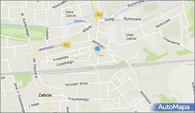 Zabrze, Dworcowa, mapa Zabrza