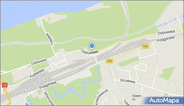 Toruń, Dybowska, mapa Torunia