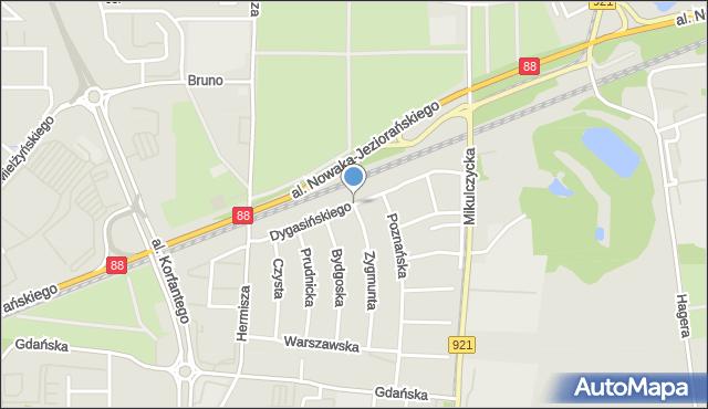 Zabrze, Dygasińskiego Adolfa, mapa Zabrza