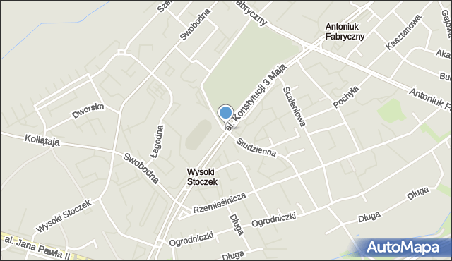 Białystok, Działkowa, mapa Białegostoku