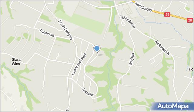Limanowa, Działkowców, mapa Limanowa