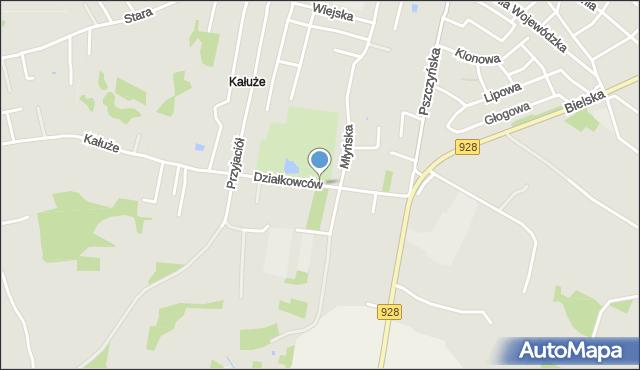 Mikołów, Działkowców, mapa Mikołów