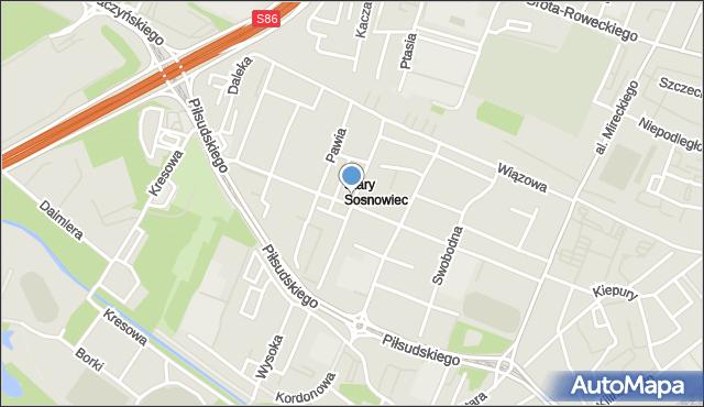 Sosnowiec, Dziewicza, mapa Sosnowca