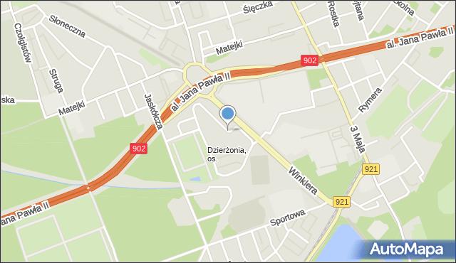 Zabrze, Dzierżona Jana, ks., mapa Zabrza