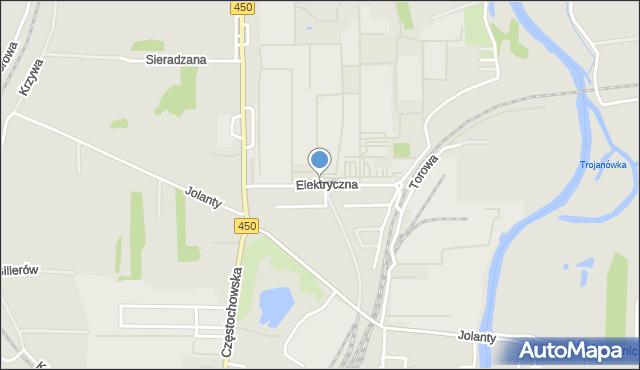 Kalisz, Elektryczna, mapa Kalisza