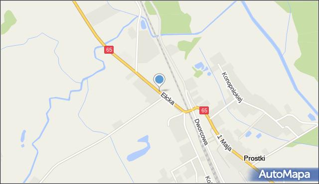 Prostki, Ełcka, mapa Prostki
