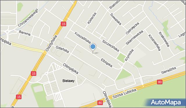 Toruń, Elbląska, mapa Torunia