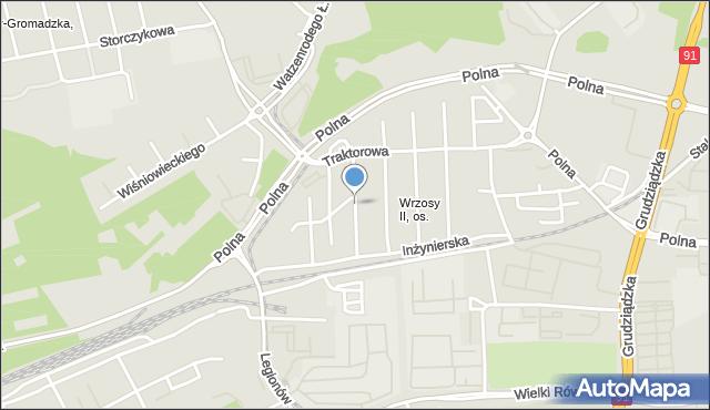 Toruń, Elektryczna, mapa Torunia
