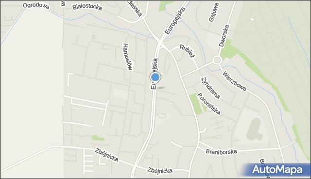Szczecin, Europejska, mapa Szczecina