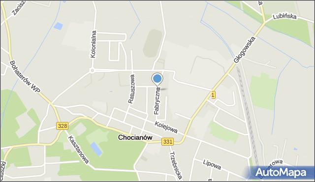 Chocianów, Fabryczna, mapa Chocianów