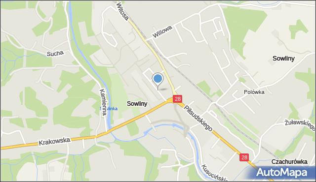 Limanowa, Fabryczna, mapa Limanowa