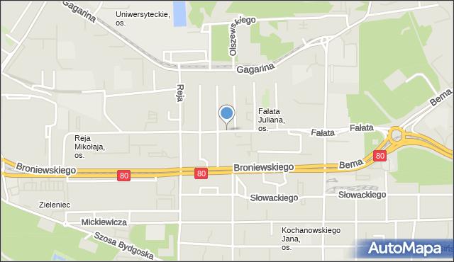 Toruń, Fałata Juliana, mapa Torunia