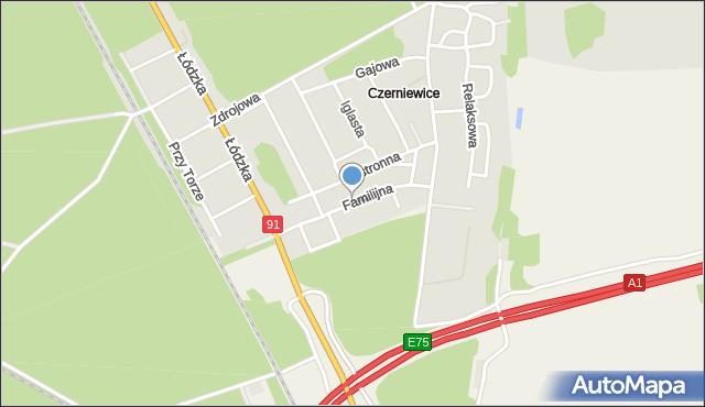 Toruń, Familijna, mapa Torunia