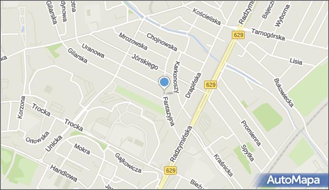 Warszawa, Fantazyjna, mapa Warszawy