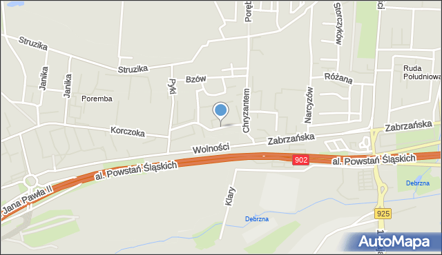 Ruda Śląska, Fiołków, mapa Rudy Śląskiej