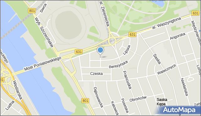 Warszawa, Finlandzka, mapa Warszawy