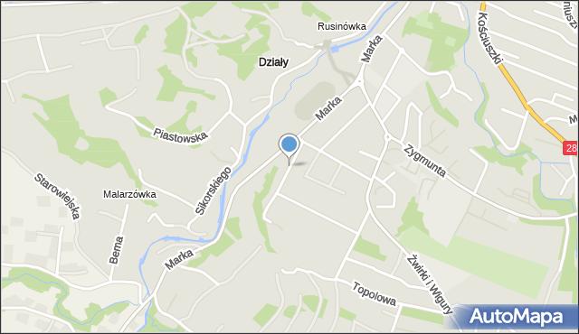 Limanowa, Flizaka Sebastiana, mapa Limanowa