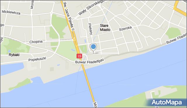 Toruń, Flisacza, mapa Torunia