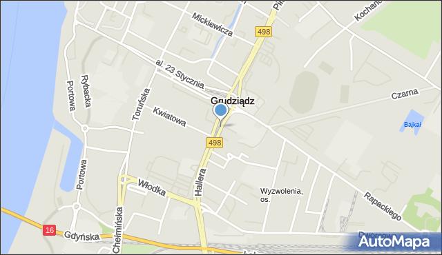 Grudziądz, Focha Ferdynanda, marsz., mapa Grudziądza