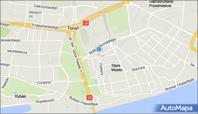 Toruń, Fosa Staromiejska, mapa Torunia
