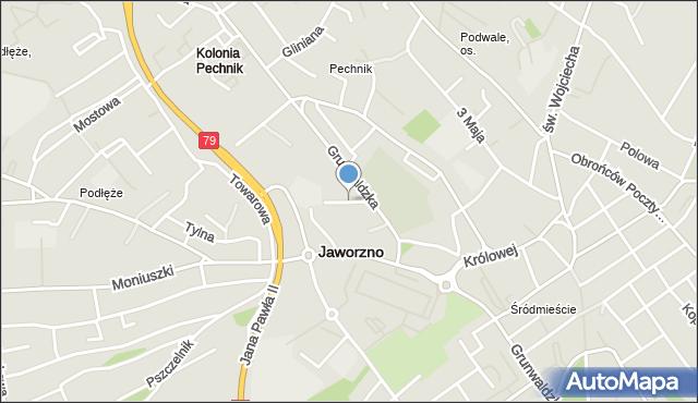 Jaworzno, Franciszka Żwirki i Stanisława Wigury, mapa Jaworzno