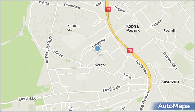 Jaworzno, Fredry Aleksandra, mapa Jaworzno
