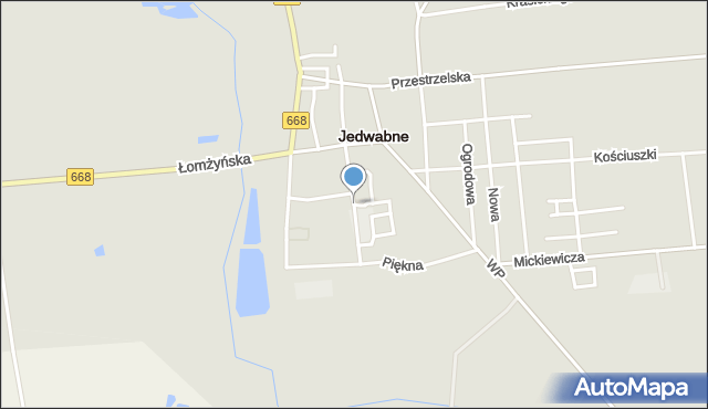 Jedwabne, Franciszka Żwirki i Stanisława Wigury, mapa Jedwabne