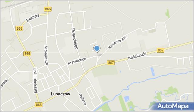 Lubaczów, Franciszka Żwirki i Stanisława Wigury, mapa Lubaczów