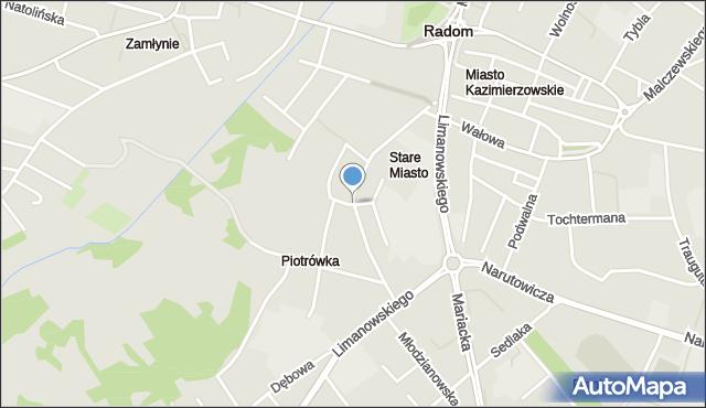 Radom, Fredry Aleksandra, mapa Radomia