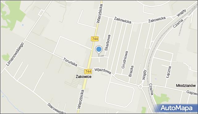 Radom, Frontowa, mapa Radomia