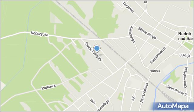 Rudnik nad Sanem, Franciszka Żwirki i Stanisława Wigury, mapa Rudnik nad Sanem