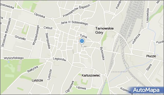 Tarnowskie Góry, Franciszka Żwirki i Stanisława Wigury, mapa Tarnowskie Góry