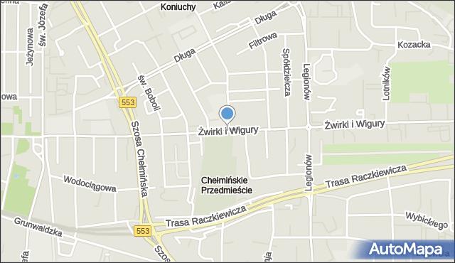 Toruń, Franciszka Żwirki i Stanisława Wigury, mapa Torunia