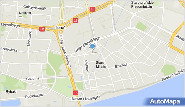 Toruń, Franciszkańska, mapa Torunia