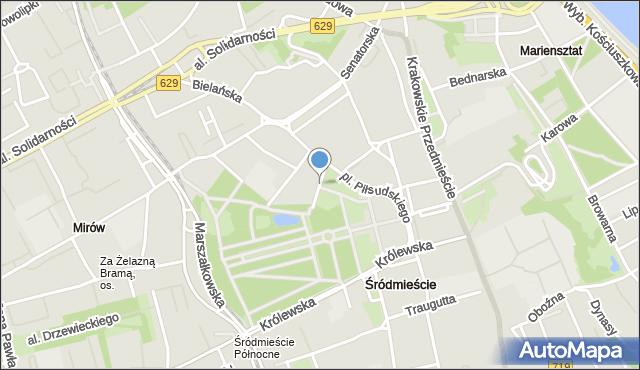 Warszawa, Fredry Aleksandra, mapa Warszawy