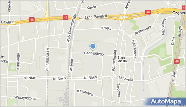 Częstochowa, Garibaldiego, mapa Częstochowy