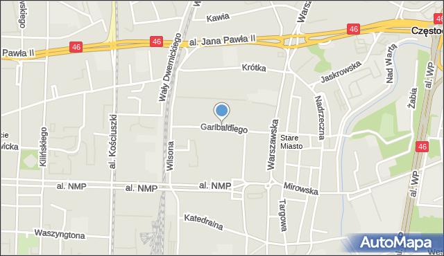 Częstochowa, Garibaldiego Giuseppe, mapa Częstochowy