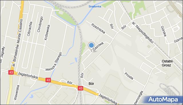 Częstochowa, Gazowa, mapa Częstochowy
