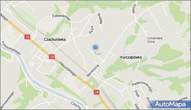 Limanowa, Gawrona Walentego, mapa Limanowa
