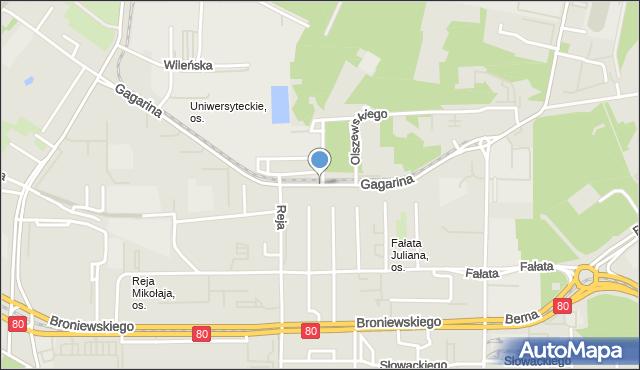 Toruń, Gagarina Jurija, mapa Torunia