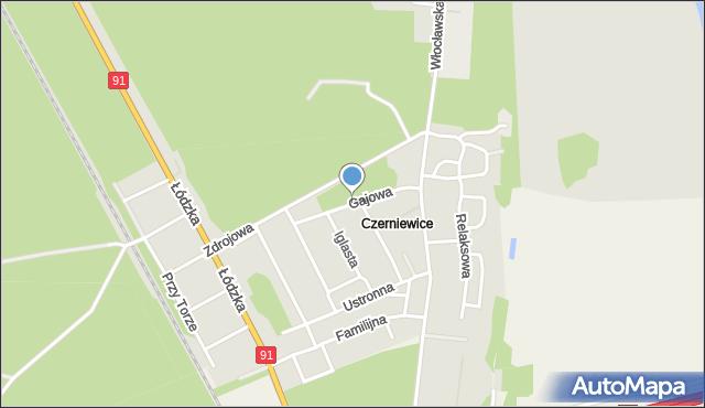 Toruń, Gajowa, mapa Torunia
