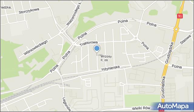 Toruń, Gazowa, mapa Torunia