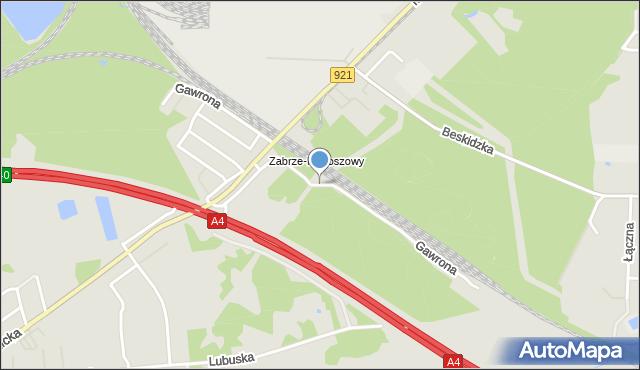 Zabrze, Gawrona Józefa, mapa Zabrza