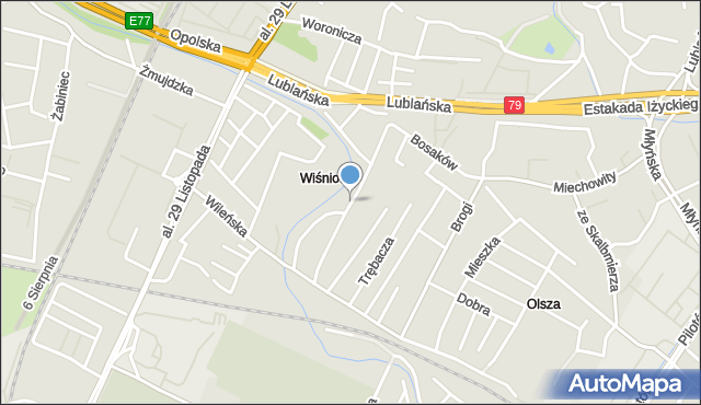 Kraków, Gdańska, mapa Krakowa