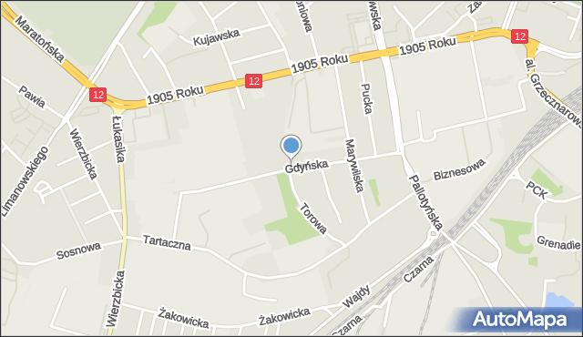Radom, Gdyńska, mapa Radomia