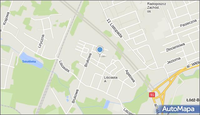 Łódź, Gipsowa, mapa Łodzi