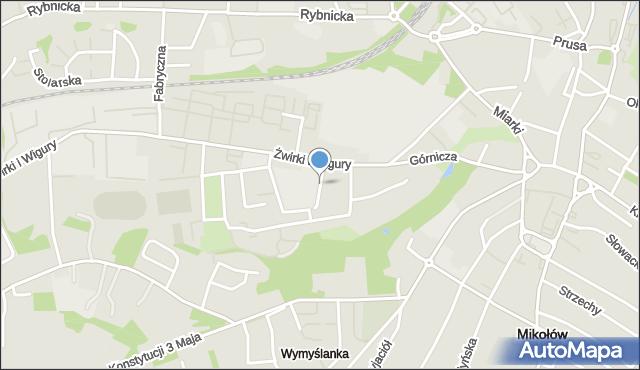 Mikołów, Gimnazjalna, mapa Mikołów