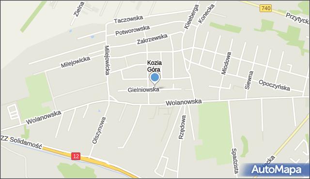 Radom, Gielniowska, mapa Radomia