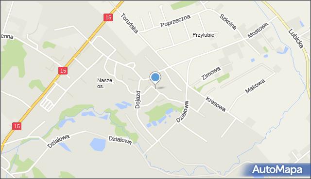Toruń, Gipsowa, mapa Torunia